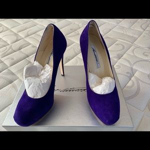 Brian Atwood Maniac purple suede pumps